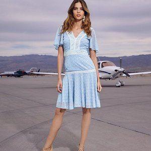Gianni Bini Alice Lace V Neck Drip Waist Dress